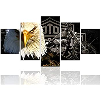 Meigan Art-Modern American Eagle Motorcycle Canvas Art Print for Wall Decoration, Set of 5 Panels, Ready to Hang (12X32 Inch x 1 , 12X24Inch x 2 , 12X16Inch x 2)