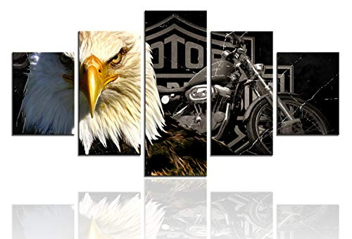 Meigan Art-Modern American Eagle Motorcycle Canvas Art Print for Wall Decoration, Set of 5 Panels, Ready to Hang (12X32 Inch x 1 , 12X24Inch x 2 , 12X16Inch x 2) ()