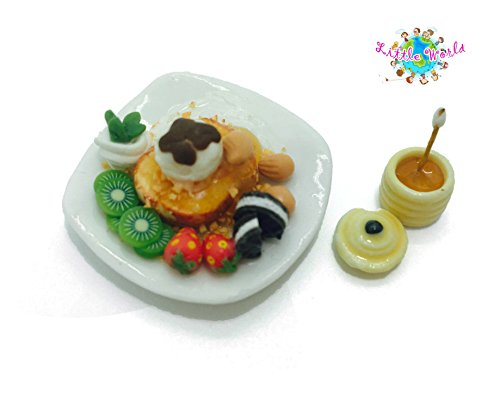 Dollhouse Miniature Food:Cookie Honey Toast With Honey Jar, Little world Collectibles, Dollhouse Miniature Food, Dollhouse Kitchen Accessories, Size 1.18'[3 cm] ,The same size as Barbie (Christmas Cactus Cookie Jar)