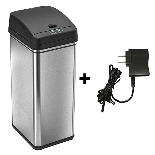 Large Garbage Pail (Battery-Free Automatic Trash Can, 13 Gallon Stainless Steel Sensor Kitchen Trash Can includes Deodorizer and AC Power)