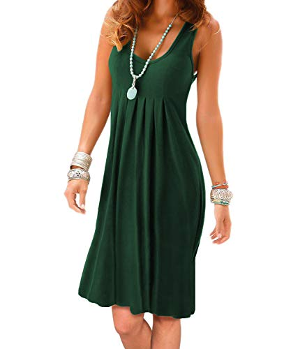 Jouica Women's Summer Casual Sleeveless Mini Plain Pleated Tank Vest Dresses T-Shirt Dress(2XL,01Dark Green)