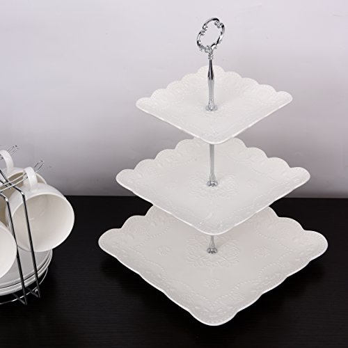 3 Tier Square Porcelain Cake Stand with Sugar Tongs - Party Food Server Display Set - Three Tier Dessert Stand - Perfect for your Tea Party, Baby Shower and Dessert Table - (White) by Ultimate Hostess (Image #1)