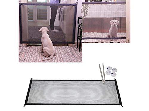 TUOBU Portable Pet Isolation Fence, Folding Magic Dog Gate Tall Pet Dog Mesh Doors Install Anywhere ()