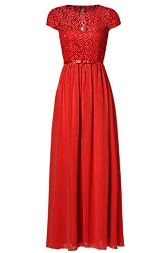 Women Sleeveless Lace Chiffon Dresses (Khaki) - 1