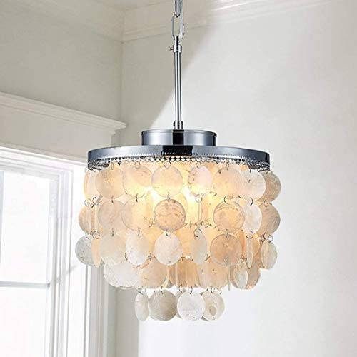 Saint Mossi 3-Light Morden Chandelier Capiz Pendant Lighting Fixture Coastal Style Hanging Ceiling Lighting
