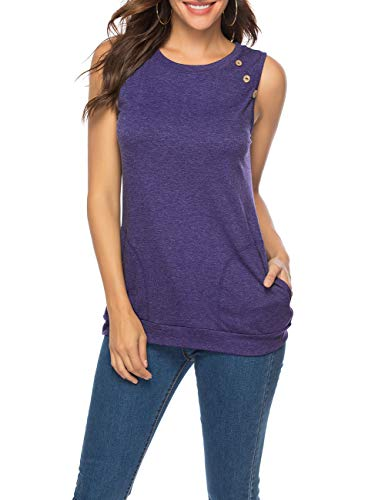 LEANI Women's Casual Short Sleeve Solid Color Button Decor T-Shirt Tunic Tops Blouse with Pockets (Purple-Sleeveless, Large)