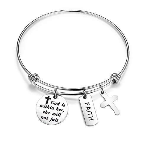 BOBAUNA Psalm 46:5 God Is Within Her She Will Not Fall Cross Bracelet Christian Jewelry Inspirational Gift For Her (god within her bracelet) (Cross Christian Jewelry)