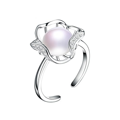 SuperLouisa Fashion product 925 silver fresh water pearl rings the size is resizable suit party/wedding/prom look like flowers Purple - Glasses For Birth Sale Control