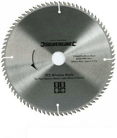 250 x 30 Lame TCT pour profilés PVC 80 dents 20 et 16 mm bagues de 25
