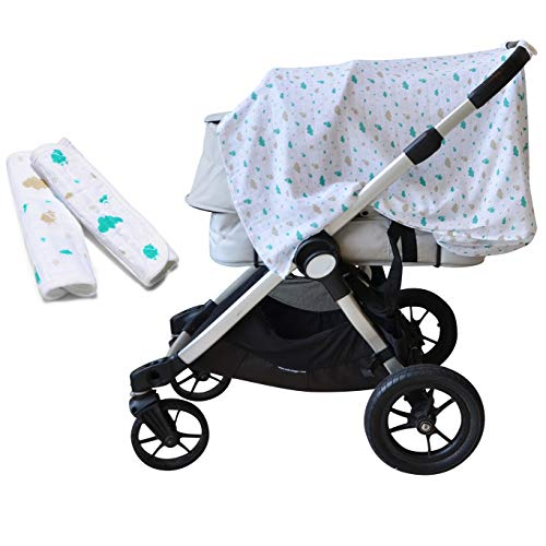 - Leirai Carseat Canopy Set: Baby Stroller Cover + 2 Strap Covers for Newborn, 100% Cotton, Breathable, Boys and Girls, Babyshower Maternity Gift