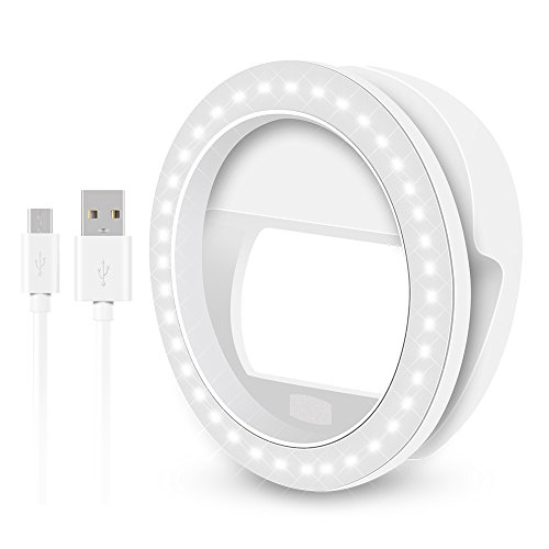 U2C Selfie Ring Light for Camera [USB Rechargeable] Clip on 36 LED Bulbs Fill-light 4 Level Adjustable Brightness for Cellphone Iphone X 6 6S 7 8 Plus Samsung Galaxy/Ipad/Android Phone