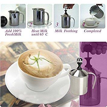Tenflyer 200ML acciaio inox latte aufschã ¤ umer FÃ ¼ r Cappuccino Latte Schiuma di latte 12685