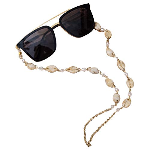 ADDJ Eyeglasses Chains Eyewear Strap Sunglasses Holder Reading Glasses Retainer Lanyard Cowrie Shell Conch (Conch Pearl Golden)