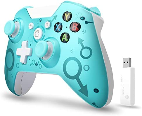 [2020 Newest Version] Wireless Controller, W&O Wireless PC Gamepad with 2.4GHZ Wireless Adapter, Compatible with Xbox One/One S/One X/P3 Host/Windows 7/8/10 (Blue)