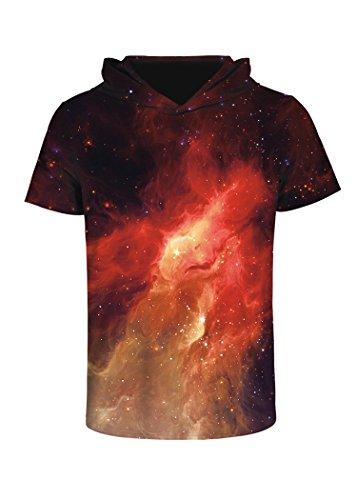 (sanatty Unisex 3D Printed Pullover Sweatshirt Hoodie Short Sleeve Casual T Shirt Galaxy Space Creative Graphic Hooded Shirts)