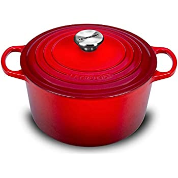 Le Creuset Cast Iron Dutch Oven - 5.25-quart Deep Round French Oven with Stainless Steel Knob (Cherry Red)
