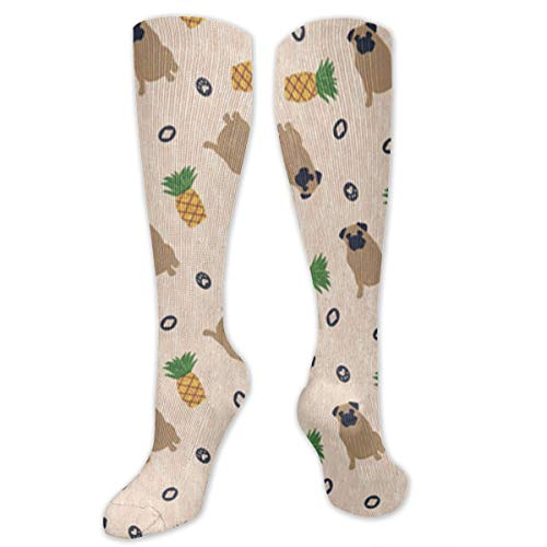 Primitive Pug and Pineapple Compression Socks for Men & Women - Best Graduated Athletic & Medical for Men & Women, Running, Flight, Travel