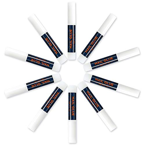Modelones Nail Glue for False Nails - 10Pcs Adhesive Super Bond for Acrylic Fake Nails Tips Professional Nail Glue Long Lasting 0.07oz/pcs