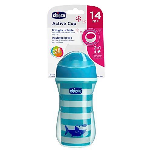 Chicco Termo Active - Vaso con boquilla fina que mantiene la temperatura, 14m+, color azul (modelos surtidos)