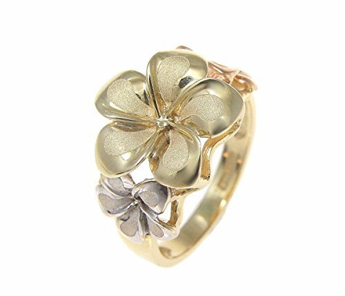 Solid 14k tricolor gold 6.5mm-8mm-6.5mm Hawaiian plumeria flower ring size 8.5 (Gold Ring Plumeria)