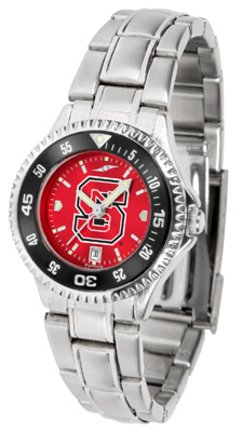 SunTime North Carolina State Wolfpack Competitor AnoChrome Ladies Watch with Steel Band and Colored Bezel
