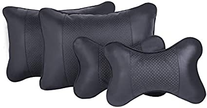 MeterMall Universal Car Neck Pillows Auto Car Neck Rest Headrest Cushion Car Interior Accessories Breathable Black One Set 2 headrests and 2 Pillows