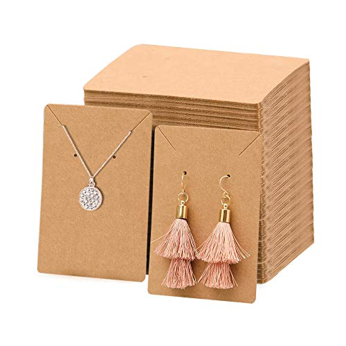 FirstCover Earrings and Necklace Display Cards with 100 Self-Sealing Clear Bags for Earring Card Holder, Earring Display Cards for Earrings Necklaces Kraft Brown 3.5 x 2.4 inch (Brown)
