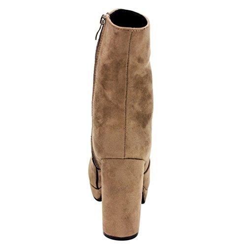 EI87 Wrapped Heel Platform Taupe Chunky Womens Suede Booties Zipper Side Vegan Beston Ankle d0SqId