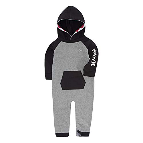 Hurley Baby Boys' Long Sleeve Hooded Coverall, Carbon Heather/Black 9M