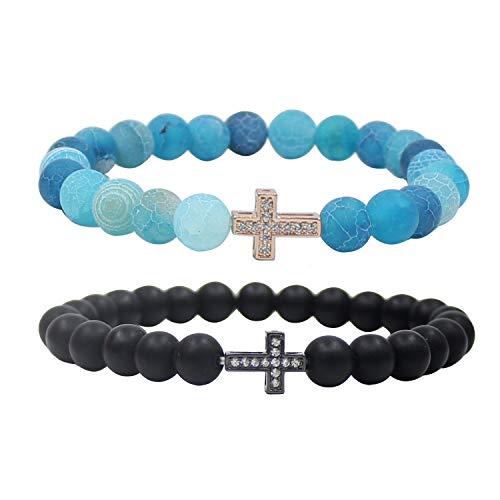 UEUC Couple Distance Bracelet Crystal Sideways Cross His Hers 8mm Bead Charm Adjustable Bangle Bracelets