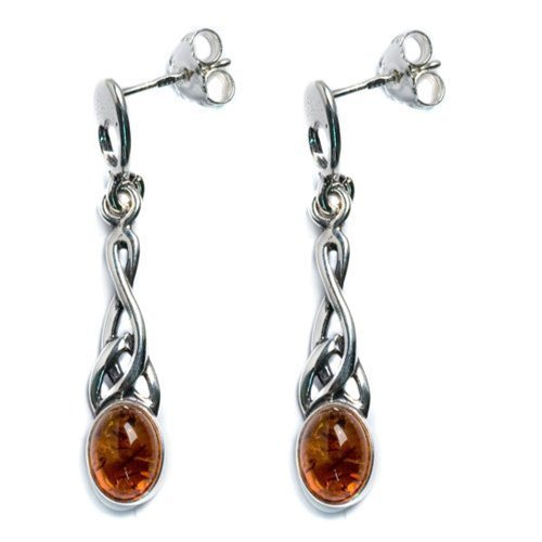 Honey Amber Sterling Silver Small Oval Celtic Earrings