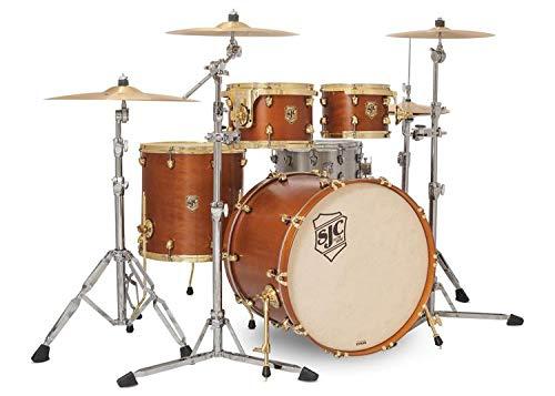 SJC Custom Drums Tour Series 4-piece Shell Pack - Golden Ochre Satin Stain - Brass Hardware