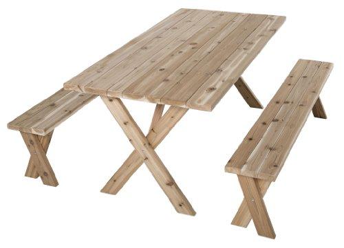 Wooden Picnic Table - American Cross Leg - Cedar Outdoor Patio Umbrella Shopping Results