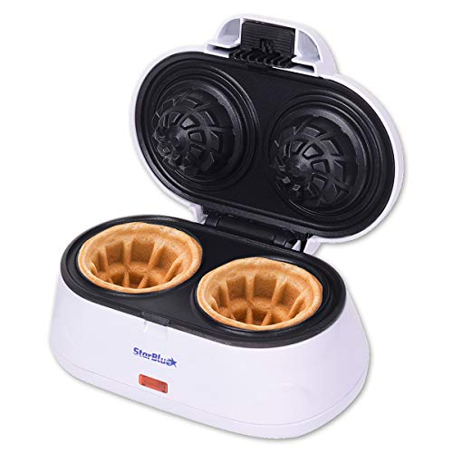 Double Waffle Bowl Maker by StarBlue - White - Make bowl shapes Belgian waffles in minutes | Best for serving ice cream and fruit | Gift ideas 110V 50/60Hz 1200W