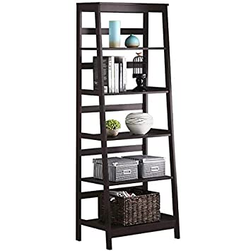 Topeakmart 5-Tier Bookshelf Free Standing Ladder Shelf with Strong Frame, Espresso 1