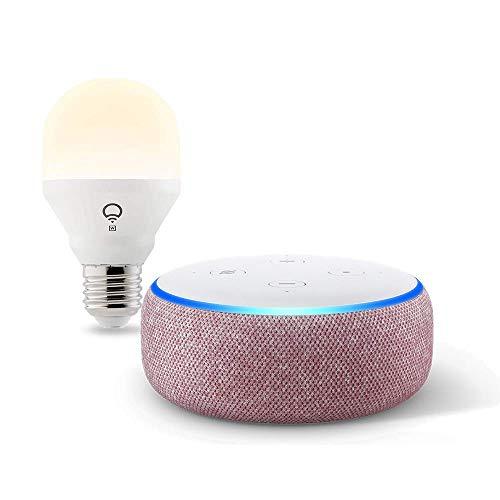Echo Dot (3rd Gen) Plum Bundle with LIFX Wi-Fi Smart Light Bulb