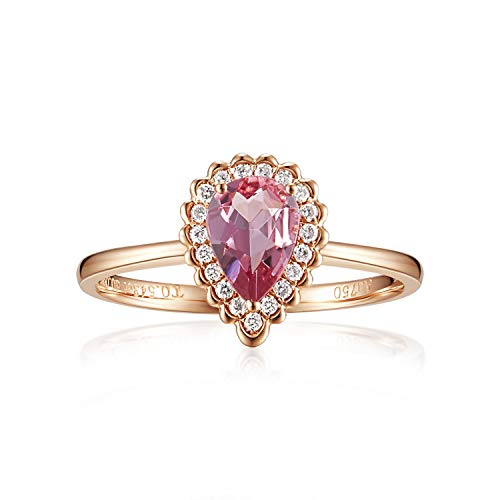 Carleen 14K Solid Rose Gold Pear Shaped 0.543ct Pink Tourmaline 0.10ct Diamond Ring For Women Girls, Size 8