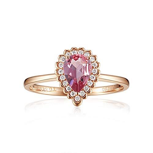 (Carleen 14K Solid Rose Gold Pear Shaped 0.543ct Pink Tourmaline 0.10ct Diamond Ring For Women Girls, Size 6)