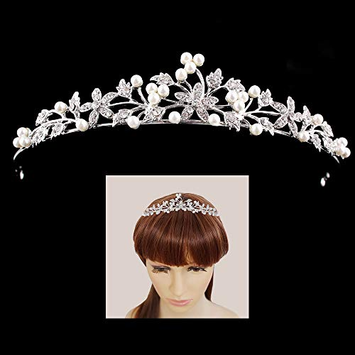 Flower Leaf Faux Pearl Rhinestone Crystal Bridal Tiara Crown Princess Headband For Wedding Prom Silver
