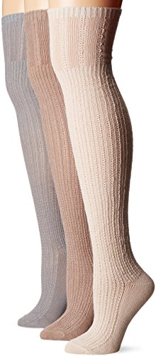 Muk Luks Women's 3 Pair Pack Open Pointelle Over The Knee Socks, Multi, OSFM ()