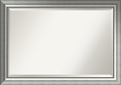 Amanti Art Framed Vegas Silver Solid Wood Wall Mirrors, Glass Size: 24 x 36