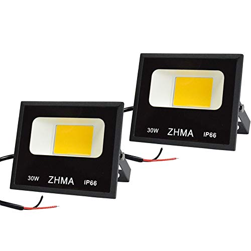 ZHMA 30W LED Outdoor Landscape Lighting, 12V~60V DC Low Voltage Warm White Flood Light, 6500K IP66 Waterproof Security Lights, Super Bright Light for Garden, Wall, Yard, Garage, Patio [2 Pack]