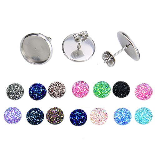 - Monrocco 50pcs 12mm Cabochon Settings Earring Blanks with 12mm Druzy Agate Resin Cabochons