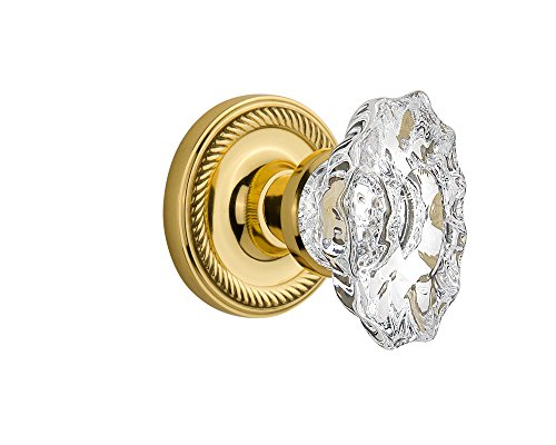 Nostalgic Warehouse Rope Rosette with Chateau Knob, Single Dummy, Polished Brass (Chateau Single Polished Brass)