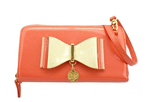 Ladies LYDC Designer Bow Purse Clutch Bag - Women's Large Patent Wallet Handbag GPL310 Coral