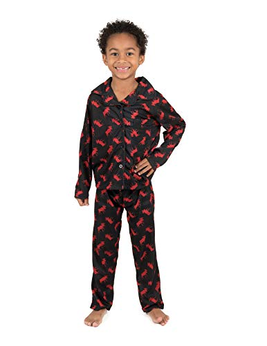 Leveret Kids Pajamas Flannel Pajamas Boys & Girls 2 Piece Christmas Pajama Set Black Moose 10 Years ()