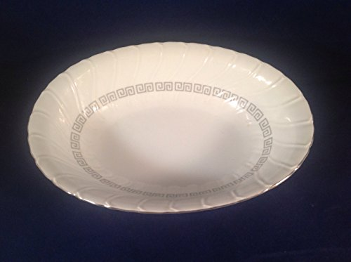 Yamaka Japan Greek Key Pattern, Royal M, Beautiful Oval Vegetable Serving Bowl, 10
