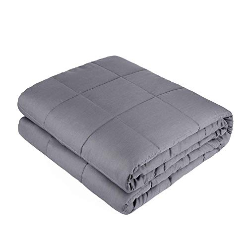 PlushDeluxe Weighted Blanket King Queen - |Size 60 x 80 Inches | 20 lbs Cotton with Glass Beads Filling. Double Stitched Edges | Perfect for Adults Between 170-200 lbs | Grey (Solid Pine Blanket)