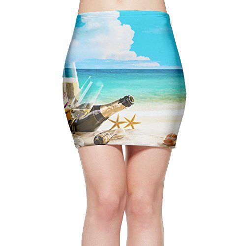 Stemware Burgundy (Coast Champagne Shells Bottle Stemware Gril/Women/Lady Sexy High Waist Bodycon Mini Pencil Skirt)