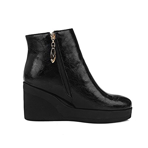 Allhqfashion Women's Round Closed Toe High Heels Soft Material Ankle High Solid Boots Black 0JYDwuHT